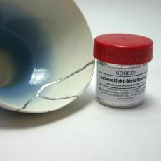 Silver effect metal powder for gintsugi
